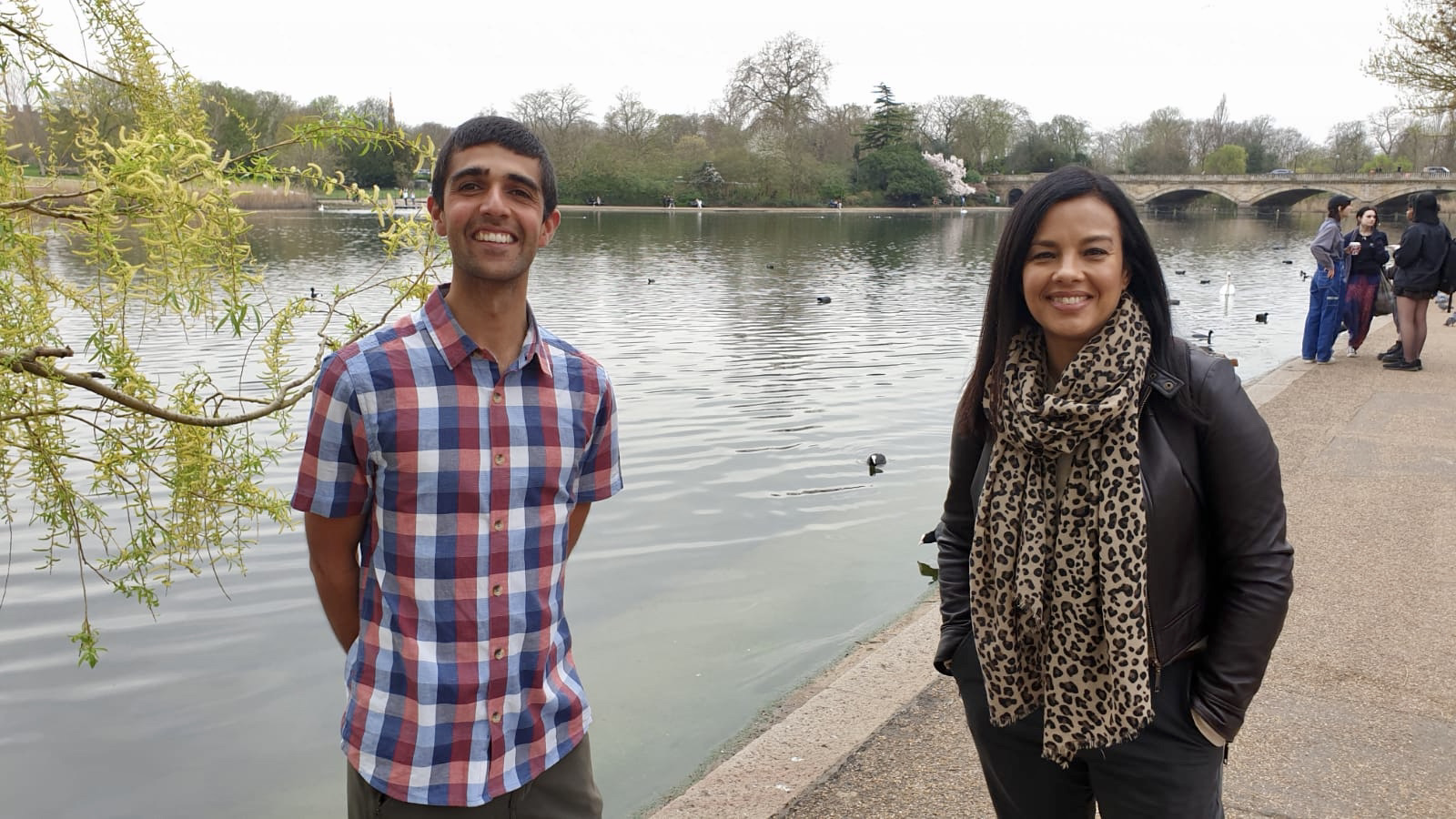 Conservationists and nature television presenters Ajay Tegala and Liz Bonnin in Hyde Park
